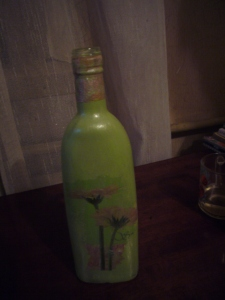 Glass bottle decoupage how to