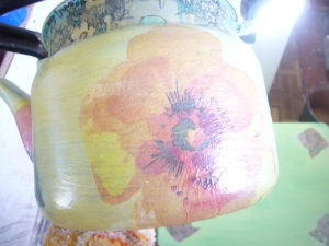 old tea pot decoupage