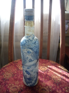 glass bottles decoupage