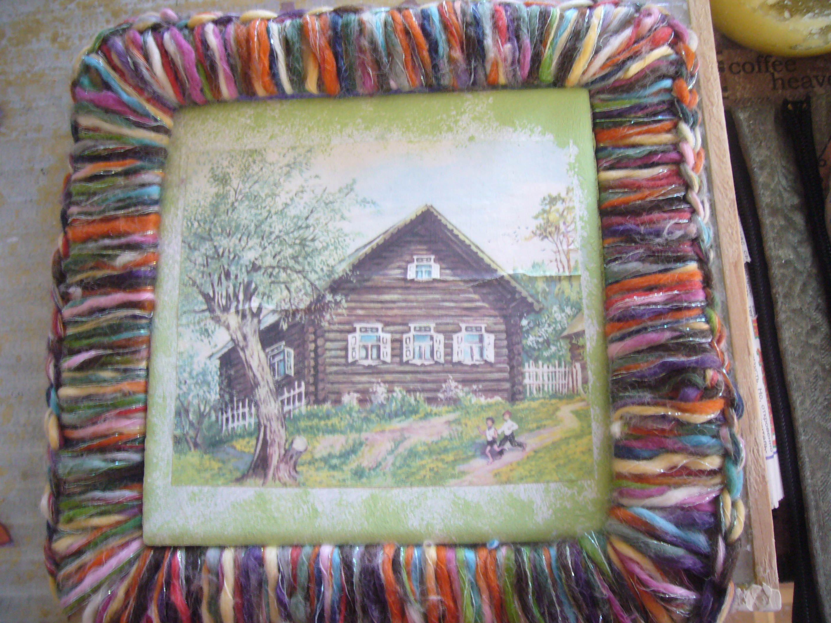 Decoupage plus crocheting = upcycled picture and frame   DIY crafts ...
