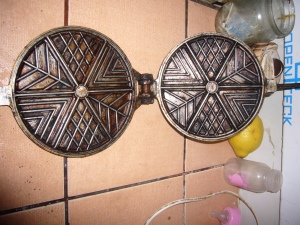 My old waffle pan to make potato waffles