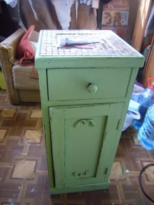 cabinet decoupage in shabby chic style