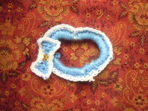 crocheted hearts baby toy