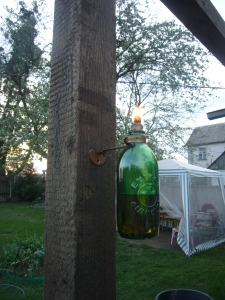 glass bottle torch lamp