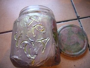 tea jar decoupage