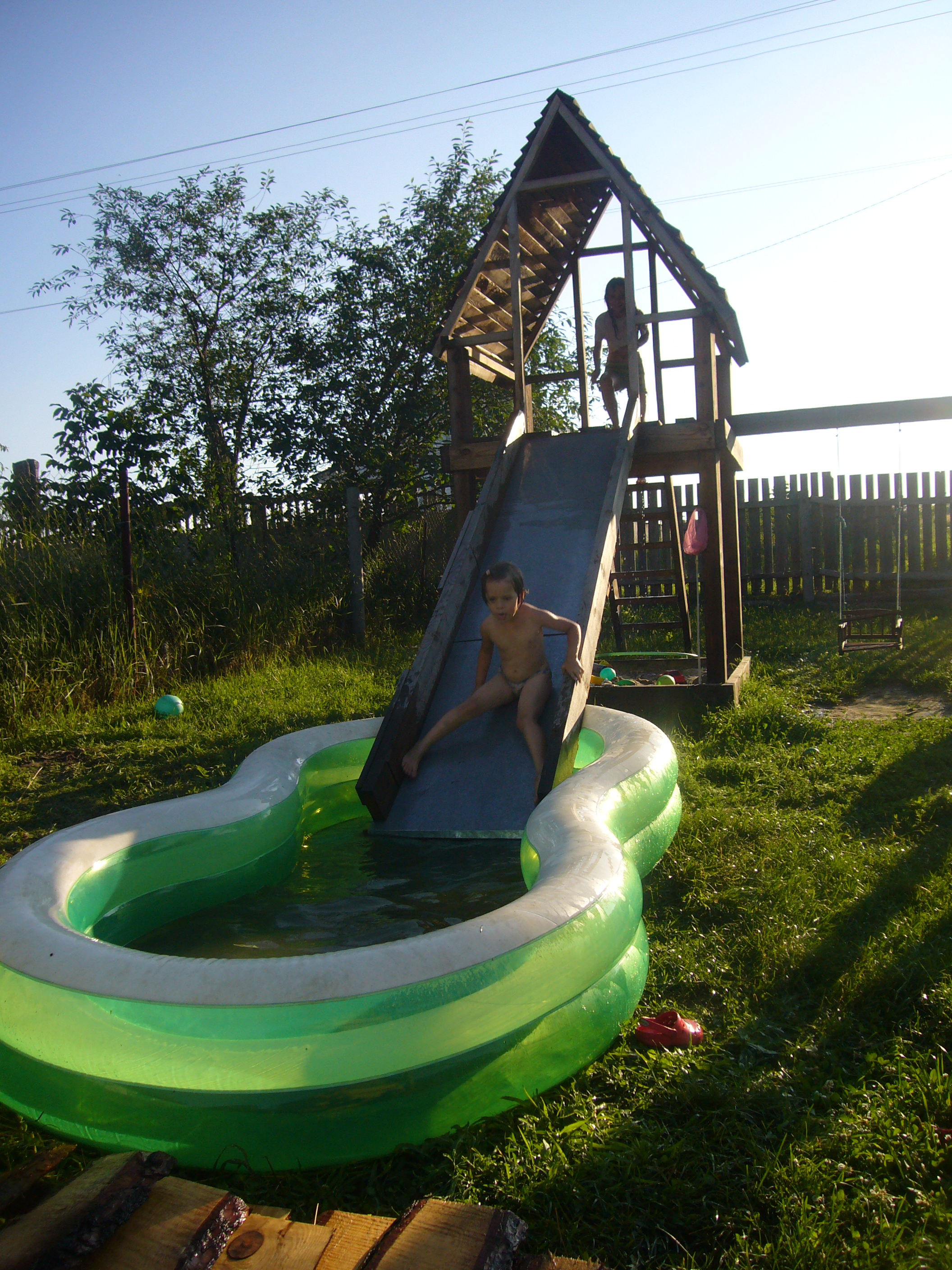 Slide and pool diy crafts decoupage ideas recycled crafts diy project wood playhouse with slide solutioingenieria Image collections