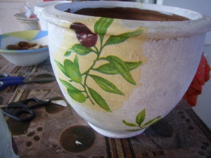 clay vase decoupage