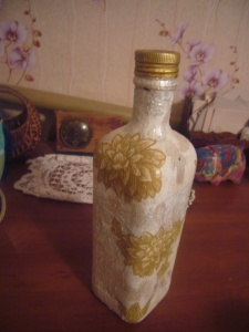 glass bottle decoupage
