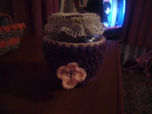 Crochet glass jar