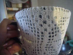 DIY glass mug decoration with lace