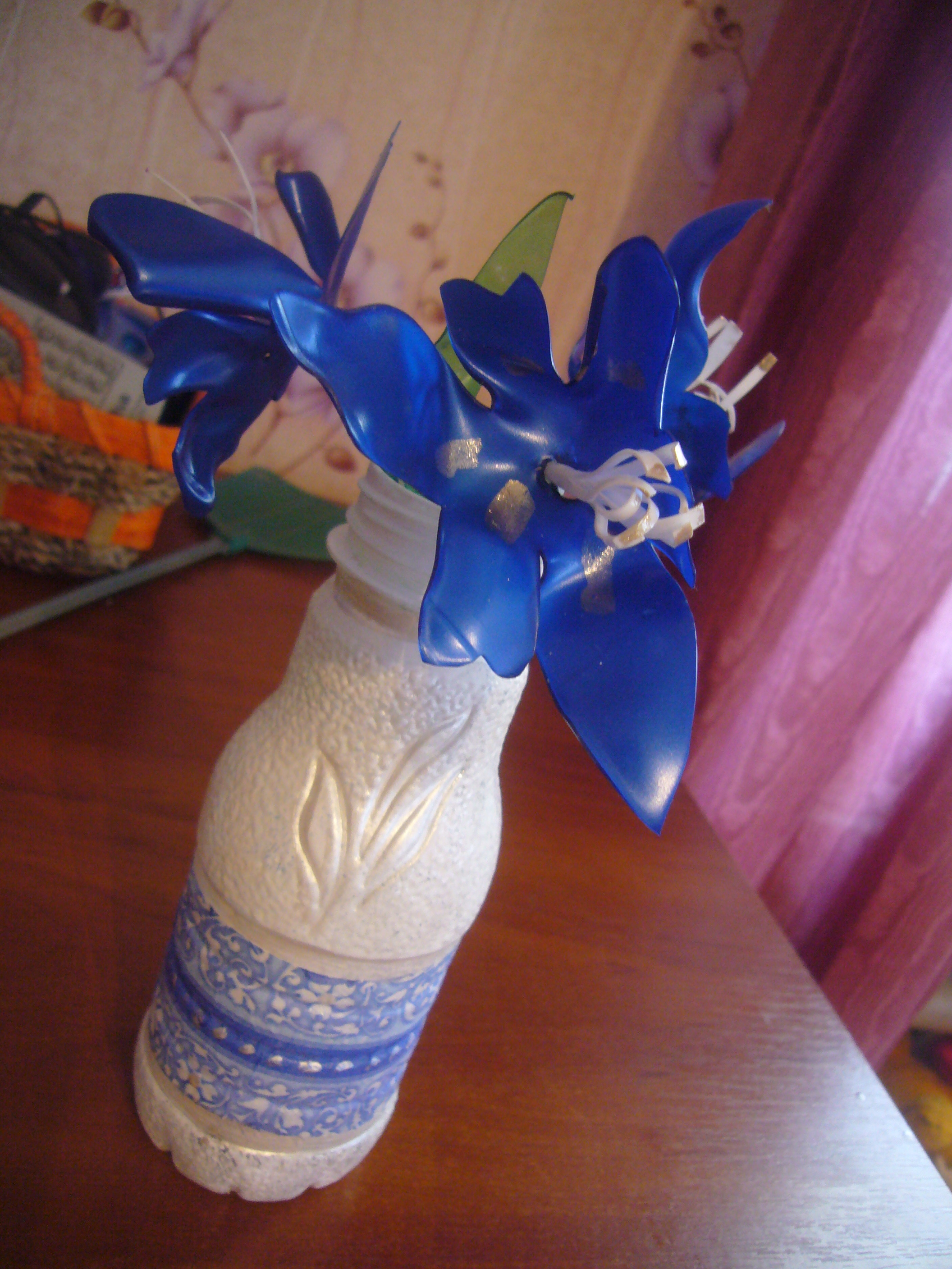 Plastic bottle crafts diy crafts decoupage ideas for Plastic bottle vase craft
