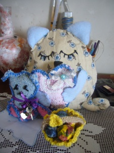 go green handmade toy cats