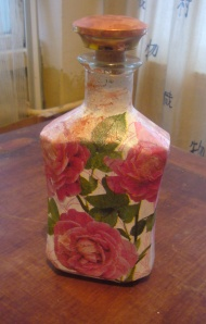 rosebud bottle decoupage