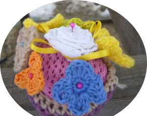 Easter crocheted flower basket
