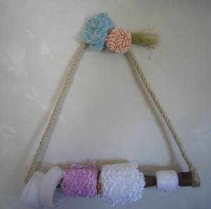 Reclaimed wood lace and ribbon storage