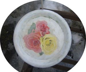 plastic tray decoupage
