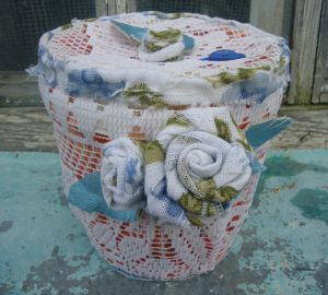 shabby chic craft supply basket