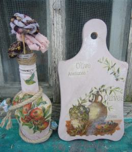 decoupage on glass and decouapge on wood