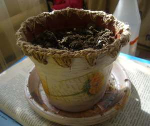 decoupaged flower pot